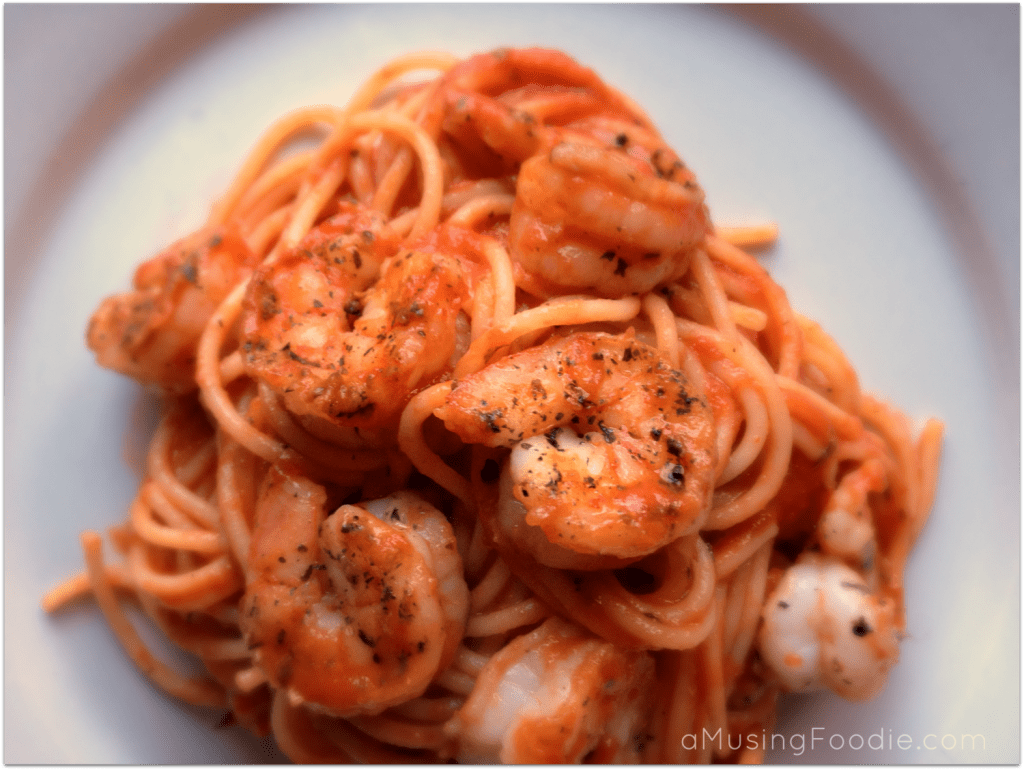 Seared Shrimp over Spaghetti Marinara