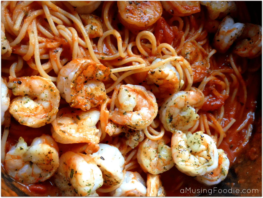 Seared Shrimp with Spaghetti Marinara