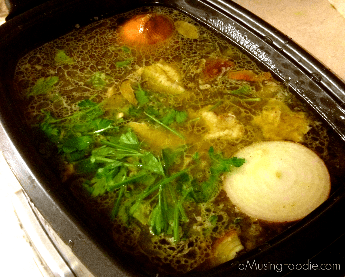 Overnight Slow Cooker Chicken Stock - (a)Musing Foodie
