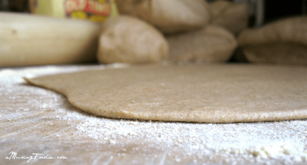 whole wheat dough rolled